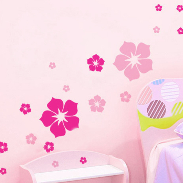 1Pc Removable Beautiful Flowers Wall Stickers For Kids Rooms Living ...