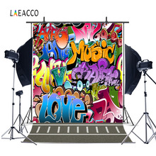 Laeacco Grunge Colorful Graffiti Wall Floor Baby Photography Backgrounds Custom Photographic Backdrops For Photo Studio