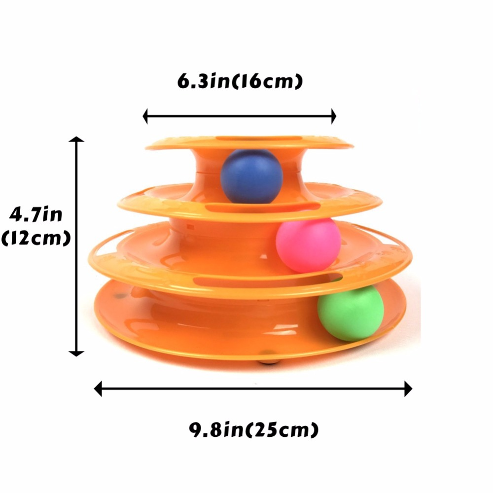 Interactive Cat Toy Three Layer Colorful Cat Track Tower Toy Great For Multiple Cats in Cat Toys from Home Garden