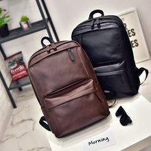 Retro casual backpack ladies, mens backpacks computer bags Korean student women PU leather travel