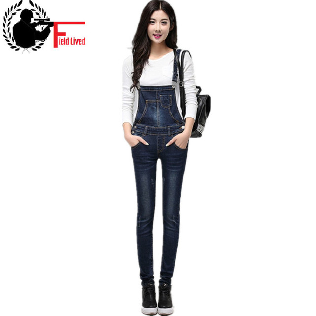640dcdcdc47 Quality Rompers Denim Overalls Women Combinaison Femme High Waist Elegant  Adjustable Strap Jumpsuit Jeans Pants Women s Trousers
