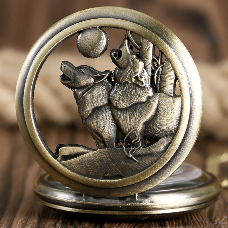Cool Howling Wolf Hound Dog Bronze Copper Retro Women Men Quartz Pocket Watch Pendant Necklace Chain Gift Relogio De Bolso retro stainless steel wolf tooth pendant necklace men jewelry