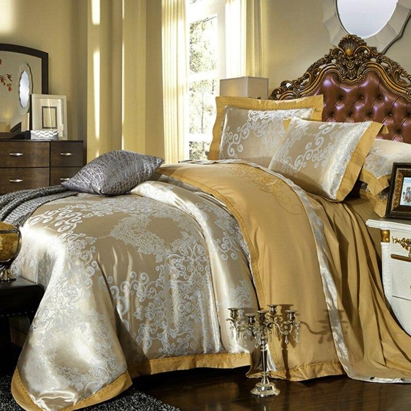 Роскошный отель жаккардовый сатин 4 шт. Постельное белье одеяло крышка постельное белье наволочки вышитые Стёганое одеяло крышка постельно