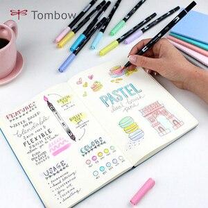 Image 4 - TOMBOW ABT çift fırça kalemler sanat Markers 10 renk seti çift kafa suluboya Marker kalem seti yazı, çizim, eskiz