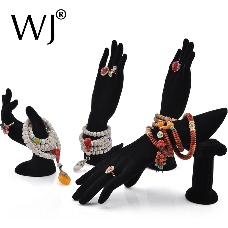 4 Styles Female <font><b>Mannequin</b></font> <font><b>Hand</b></font> Finger Jewelry Glove <font><b>Ring</b></font> <font><b>Bracelet</b></font> Display Stand Rack Necklace <font><b>Hand</b></font> Holder Organizer Black Velvet image