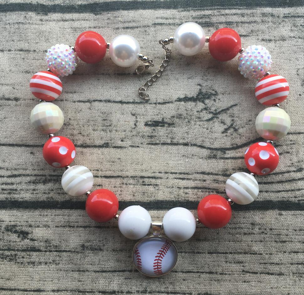Softball Baseball Red Glitter Necklace Chunky Necklace Bubblegum Necklace Baby Toddler Girls Birthday Toddler Girl Jewelry