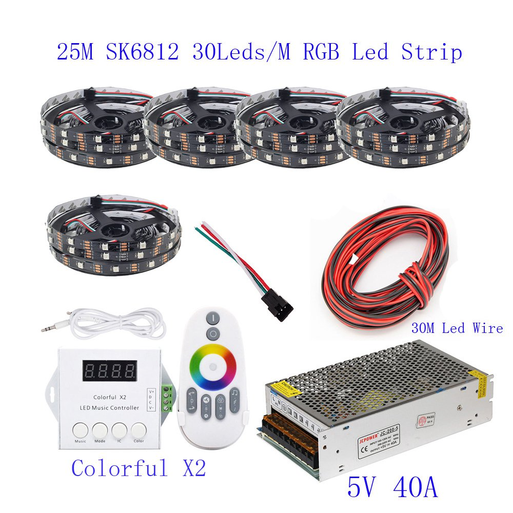 25 m 20 m 15 m 10 m 5 m WS2812B HA CONDOTTO La Striscia WS2812B IC 30 leds/M RGB intelligente Striscia di Pixel + Colorful X2 Ha Condotto Il Regolatore + Led di alimentazione