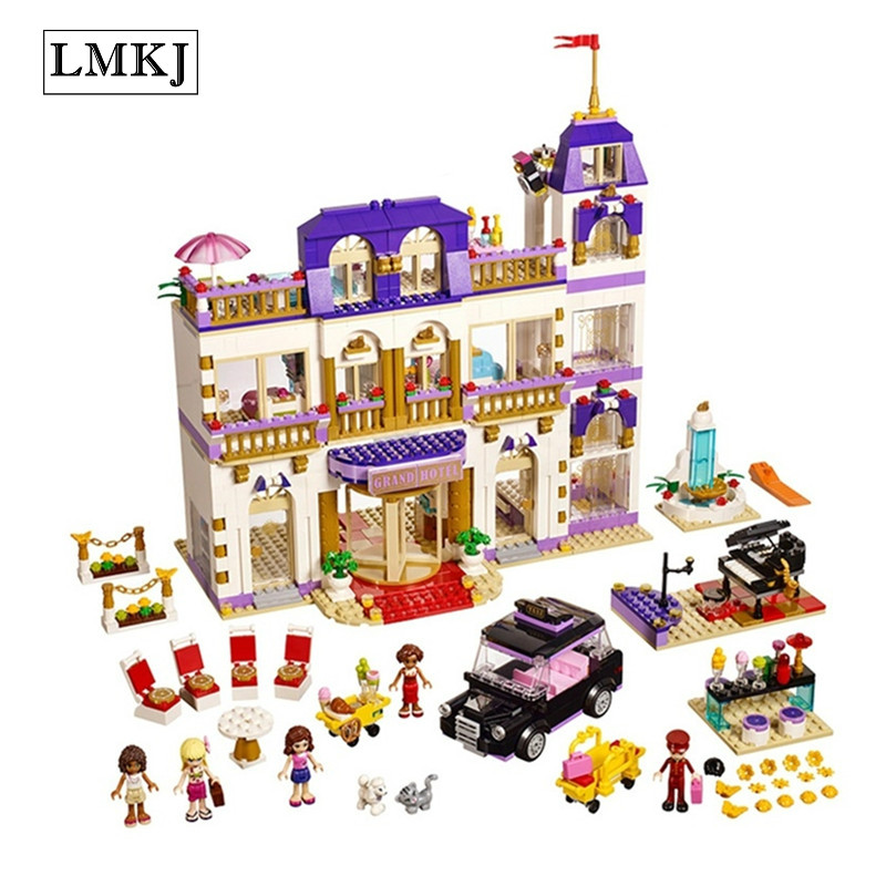 LMKJ 10547 Friends Heartlake Grand Hotel Building Blocks Bricks Girls Toys Compatible with Legoingly 41101 for Children Gifts 1585pcs friends series heartlake grand hotel 10547 model building bricks blocks emma stephanie toys girls compatible with lego