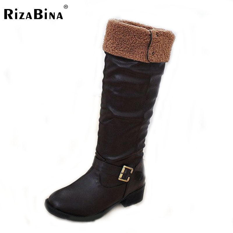 RizaBina New Arrive Winter Knee High Women Boots Black Yellow Brown Flat Heels Half Boots Autumn Winter Shoes Woman Size 34-43 brand new fashion black yellow women knee high cowboy motorcycle boots ladies shoes high heels a 16 zip plus big size 32 43 10