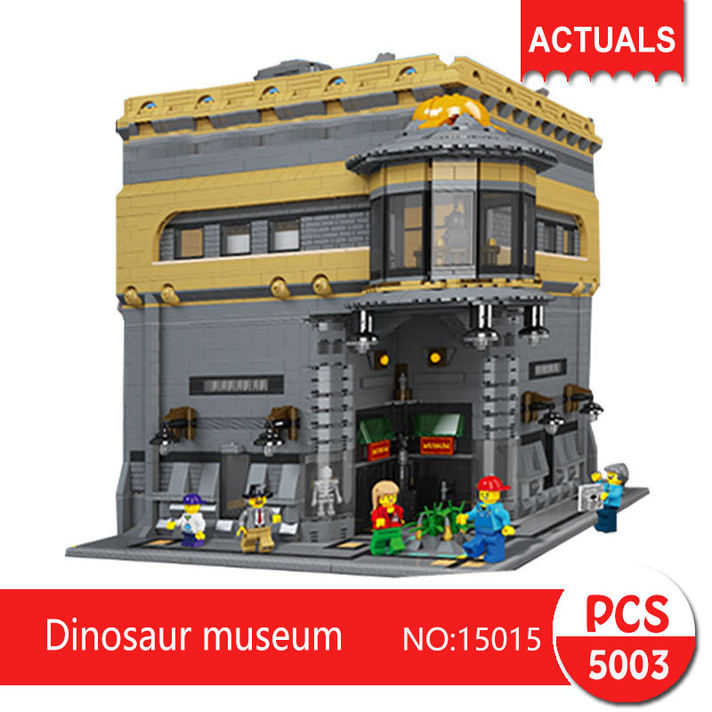 Lepin 15015 5003Pcs Street View series Dinosaur museum Model Building Blocks Set  Bricks Toys For Children wange Gift lepin 15015 5003 stucke stadt schopfer der dinosaurier museum moc modellbau kits ziegel spielzeug kompatibel weihnachtsgeschenke
