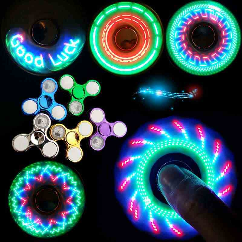 Luminous LED Lampu Gelisah Spinner Tangan Atas Pemintal Cahaya Di Dark Light EDC Figet Spiner Batman Jari Stres Relief Mainan