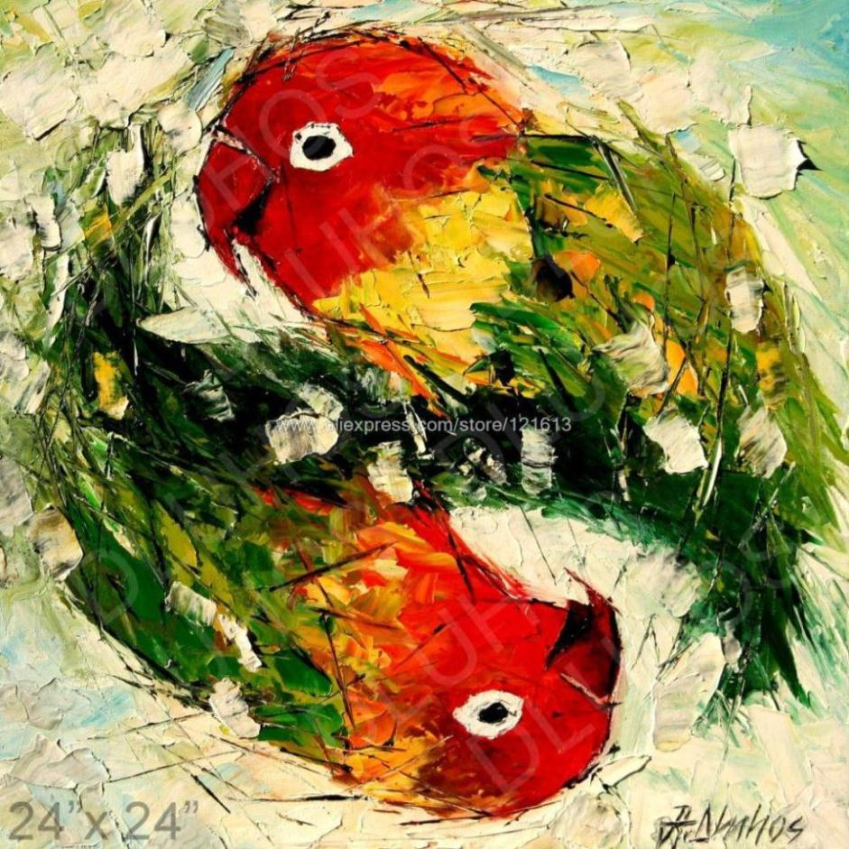 Love Birds Color Parrots Palette Knife Art Oil Painting Abstract ChildrenS Room Background Free Shipping In Calligraphy From Home Garden On
