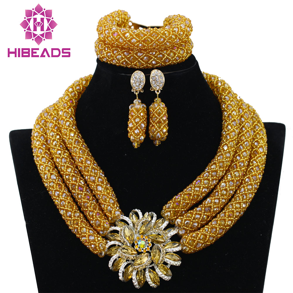 Chunky Gold Crystal Beads Women Necklace Bridal Fashion s