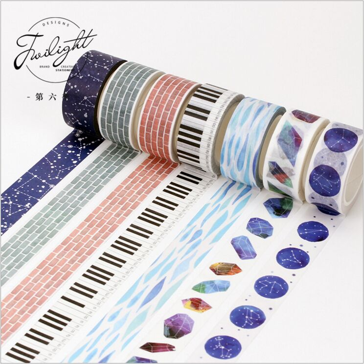 все цены на  13 Designs Let Dream Fly Blue Starry Sky Crystal Stones Decorative Washi Tape DIY Diary Planner Scrapbook Lable Masking Tape  онлайн