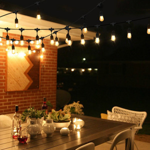 Image 4 - IP65 في الهواء الطلق LED ضوء سلسلة 10 متر قياس كابل أسود مع 10 4 واط اديسون المصابيح الديكور المثالي لحديقة الفناء حفلة عيد الميلاد