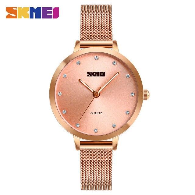SKMEI Fashion Women Watches Luxury Stainless Steel Strap Quartz Watch Ladies 3bar Waterproof Wristwatches Relogio Feminino 1291 1