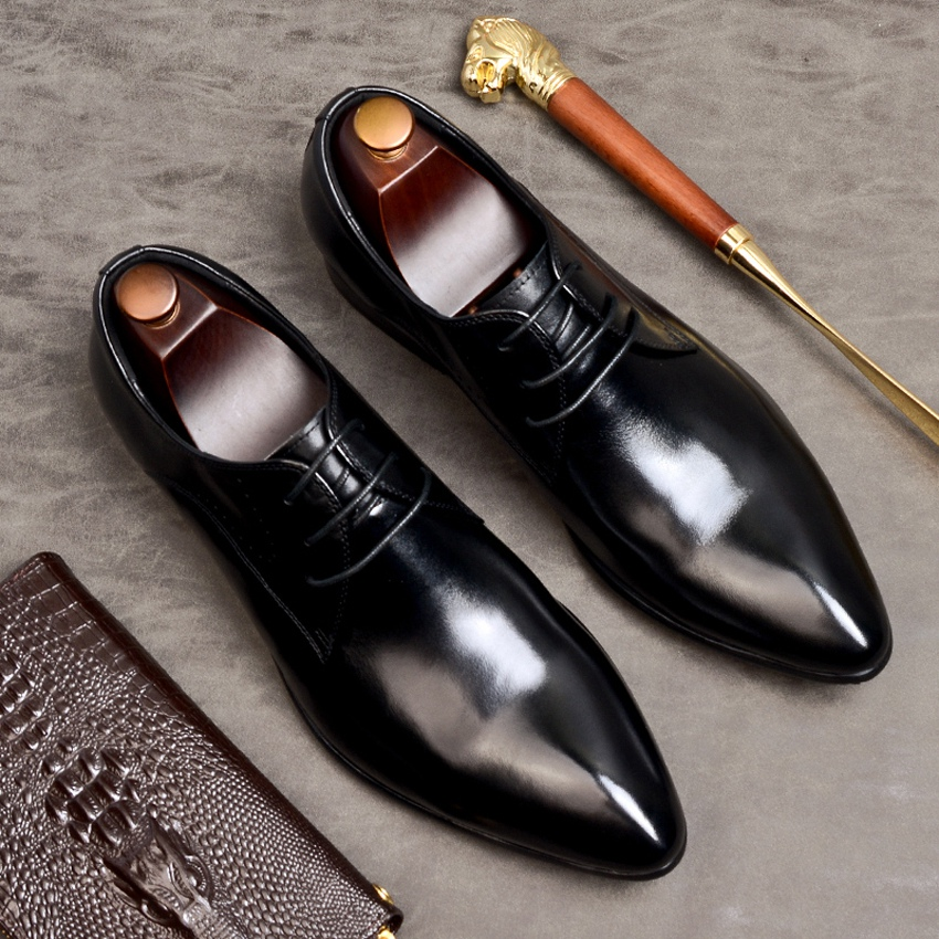 Plus Size Real Genuine Leather Formal Men 39 s Derby Shoes Italian Pointed Toe Laces Handmade Office Party Footwear For Male AS107 in Formal Shoes from Shoes