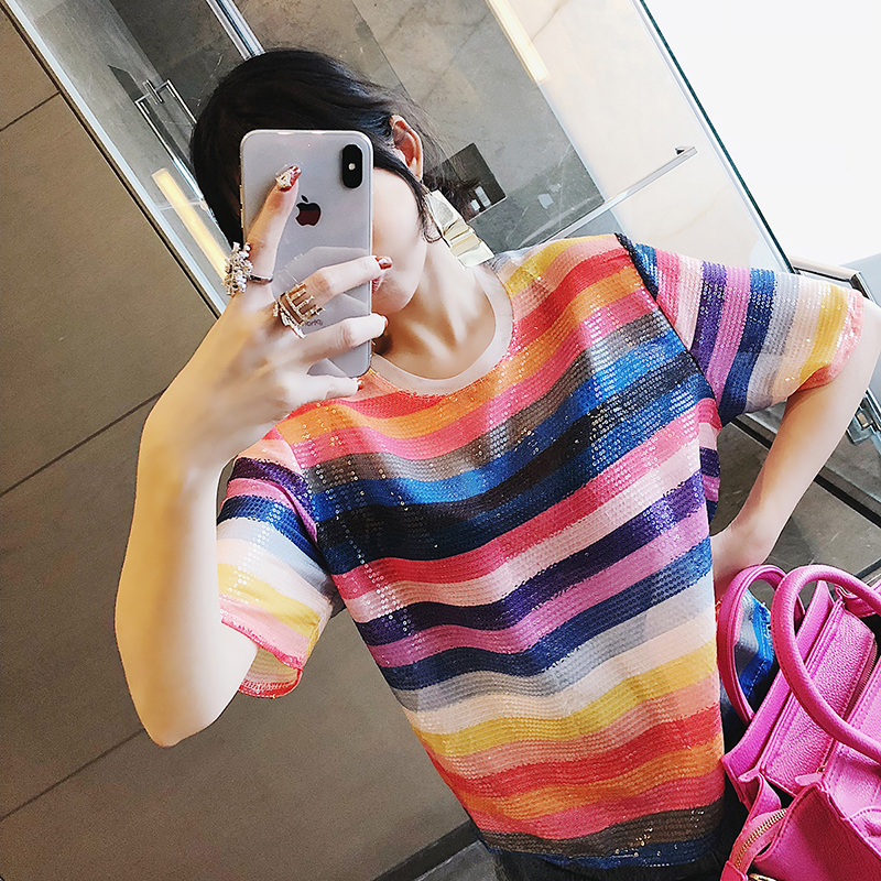EC new female tide Korean version of the short-sleeved rainbow striped sequins t-shirt stitching round neck pullover tops