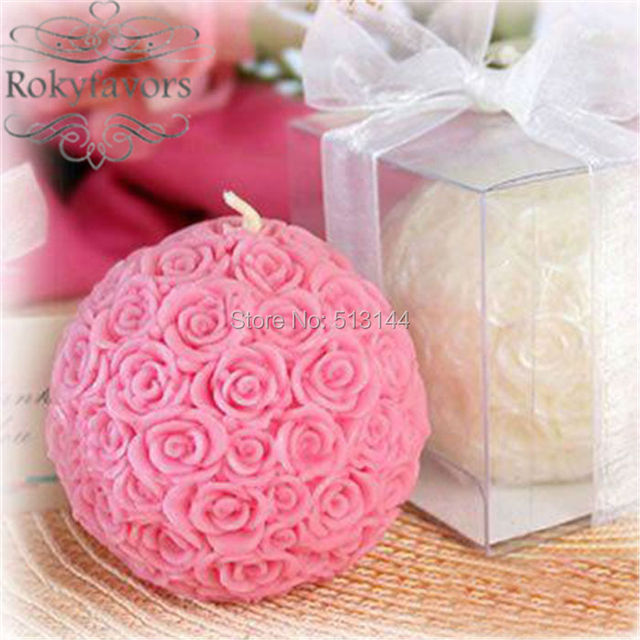 free shipping 100pcs ball of rose candle wedding favors bridal shower party favours souvenir giveaways