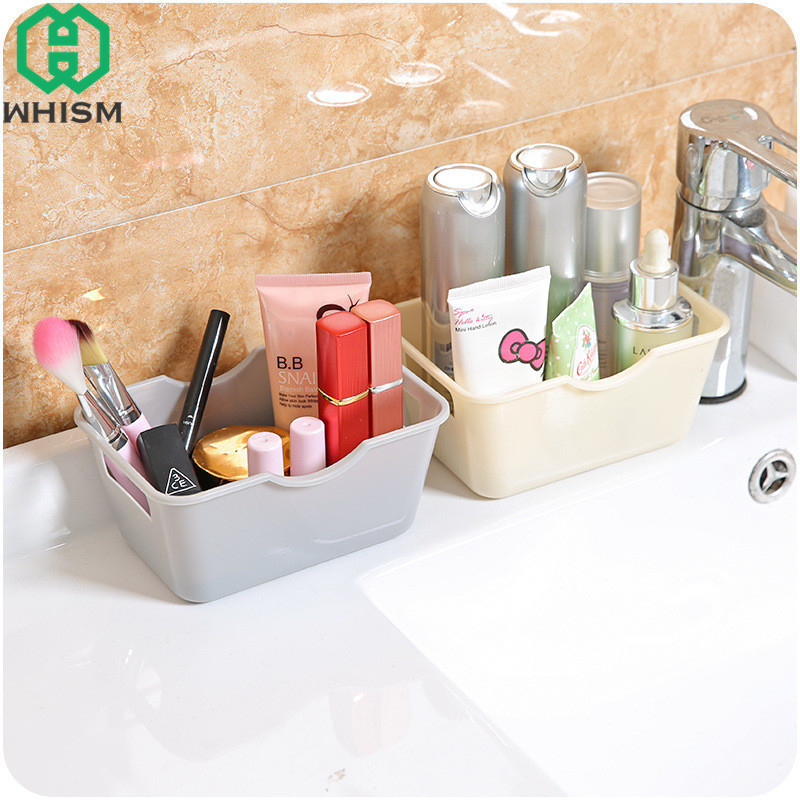 WHISM Desktop Storage Boxes Bin Makeup Organizer Lipstick Holder Sundries Cosmetic Box Plastic Container Storage Box for Jewelry