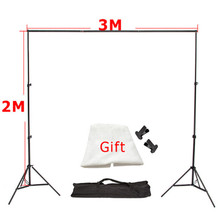 3m x2m Aluminum Photography Support Background Backdrop System Stands Studio 3m Cross Bar+2m Light Standx2+Free Backdrop Cloth*1