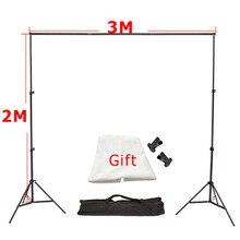 3 m x 2 m En Aluminium Photographie de Fond De Soutien Système de Toile De Fond Stands Studio 3 m Croix Bar + 2 m lumière Standx2 + Livraison Toile Tissu * 1