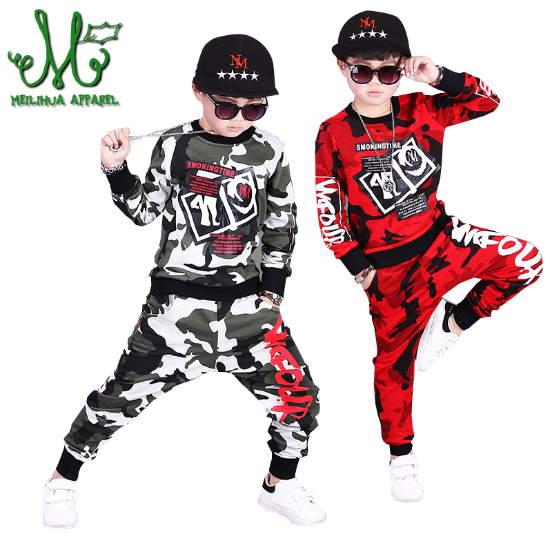 Boys Camouflage Clothing Sets Kids Teenage Hip Hop Sports Suits Fashion Tops + Harem Pants Boys Clothes Causal Clothing 3-12Year александр дюма серия книжная коллекция мк комплект из 27 книг