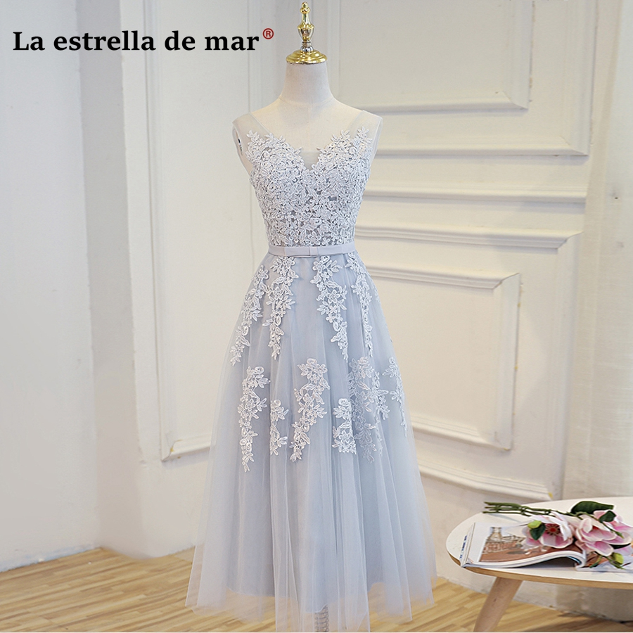 wedding party dress2018 new sexy V neck Tulle pearl a Line Tea silver   bridesmaid     dresses   cheap wedding guest   dress