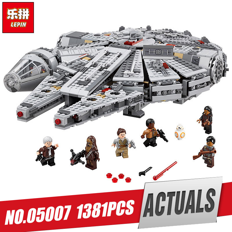 LEPIN 05007 1381Pcs Millennium set Falcon model Force Awakening Star Building Blocks wars Toys For Children LegoINys 10467 gifts ynynoo lepin 05007 star assembling building blocks marvel toy compatible with 10467 educational boys gifts wars