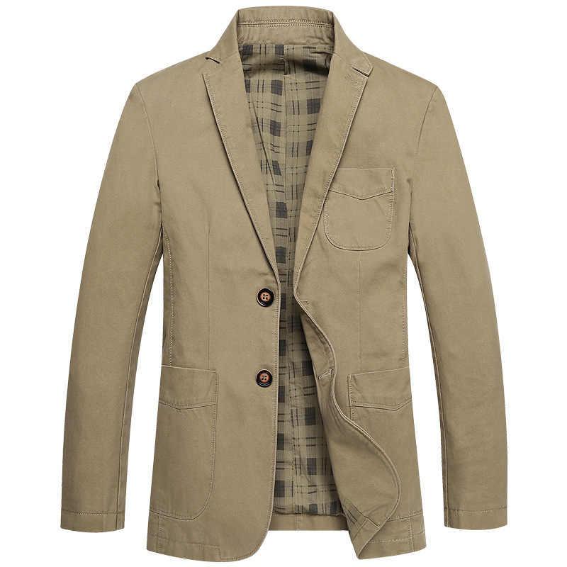 男性スーツのジャケット綿 100% ボタンポケットカーキカジュアルストリート摩耗春秋オス生き抜くスリム男ブレザー