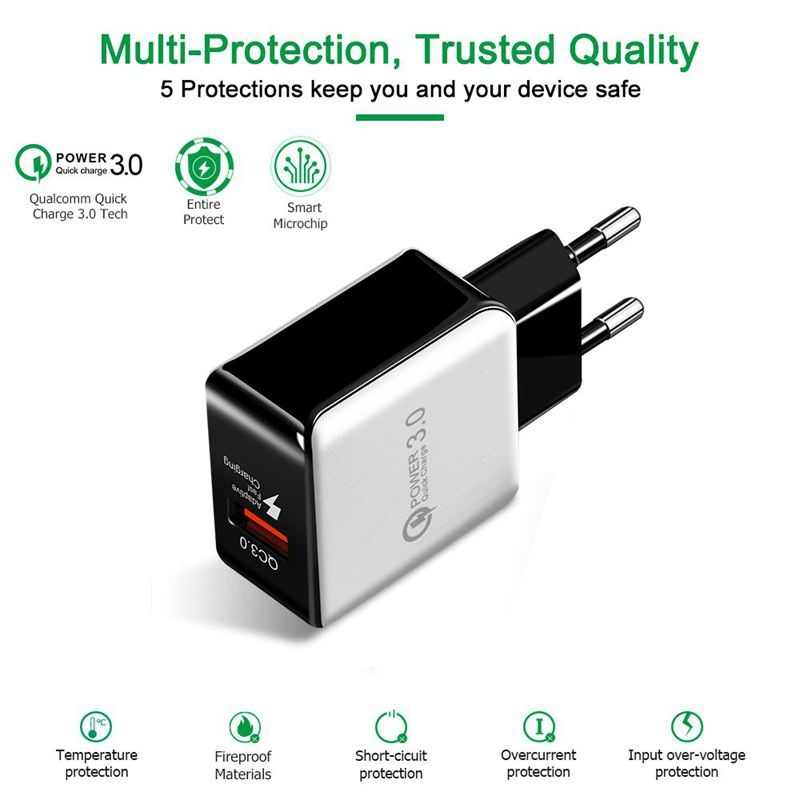 18 ワット電話 USB 充電器急速充電 3.0 高速携帯電話の充電器 Usb アダプタ銀河 S8/S7 /S6/エッジ micro usb cable