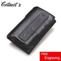 Free Engrave Genuine Cow Leather Mini Key Wallets Brand Trifold Design Zipper Coin Bag Purse With