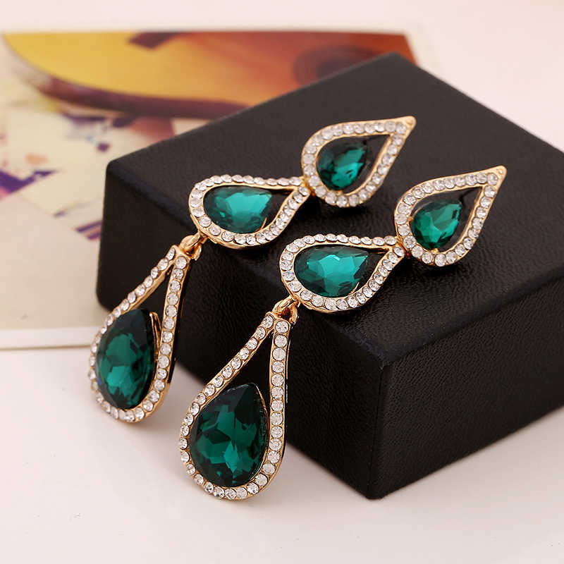 Exaggerated New Women's Chunky Deep Green Stone Long Drop Earrings for Women Fashion Jewelry