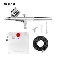 Nasedal Dual Action Spray Gun Mini Airbrush Compressor Kit Airbrush for Nail Art Makeup Tattoo Model Cake Car paint