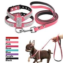 Didog поводок и поводок для маленьких собак, набор из замшевой кожи, стразы для домашних животных, поводки и поводки для прогулок для маленьких средних собак, чихуахуа