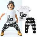 2016 Crianças Novas de Manga Curta T-shirt Do Bebê Menino Encabeça + Calças Outfits Crianças Roupas Set 0-5A
