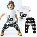 2016 New Kids Short Sleeve Baby Boy T-shirt Tops+Pants Outfits Toddlers Clothes Set 0-5Y