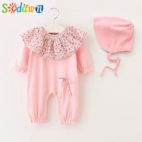 Sodawn 2017 New Infant Clothes Princess Style Small Flower Jumpsuits Hats Baby Clothing Sets Infant Jumpsuit