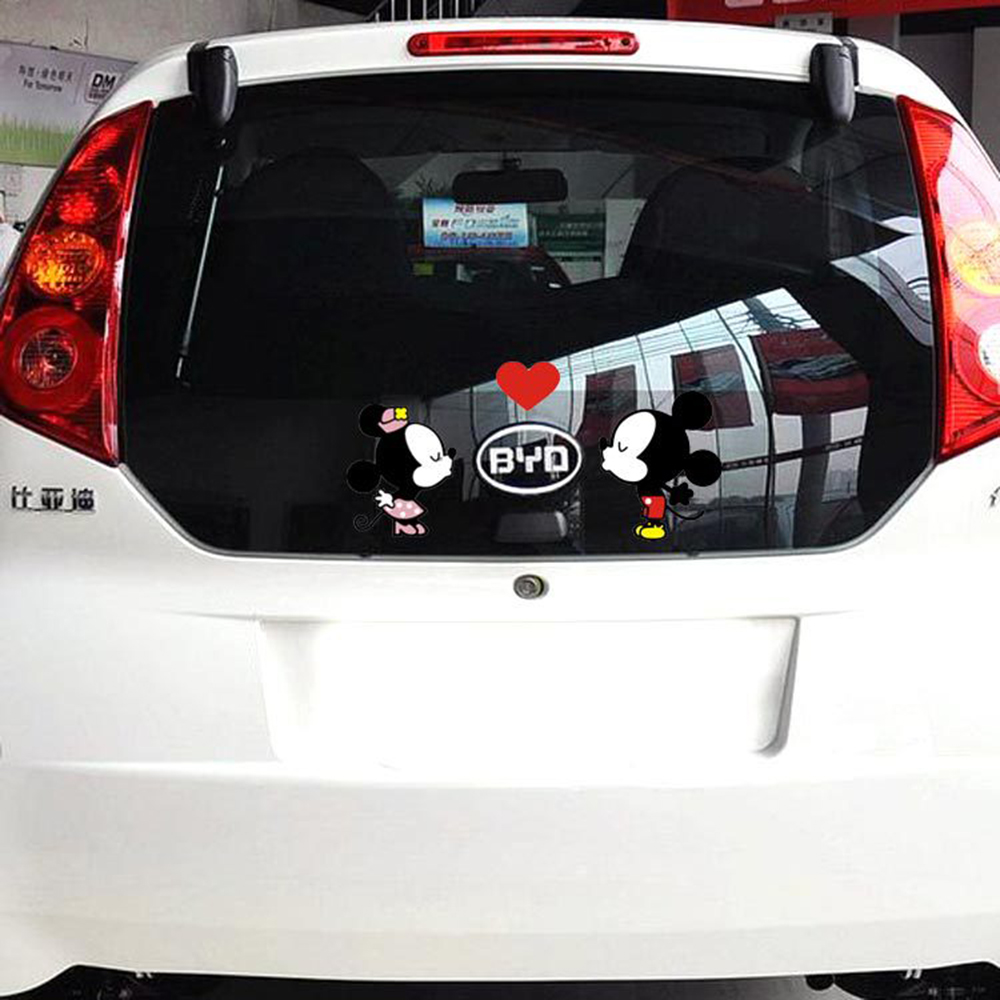 aliauto car styling funny cartoon car sticker door decal mickey mouse kiss accessories for vw. Black Bedroom Furniture Sets. Home Design Ideas