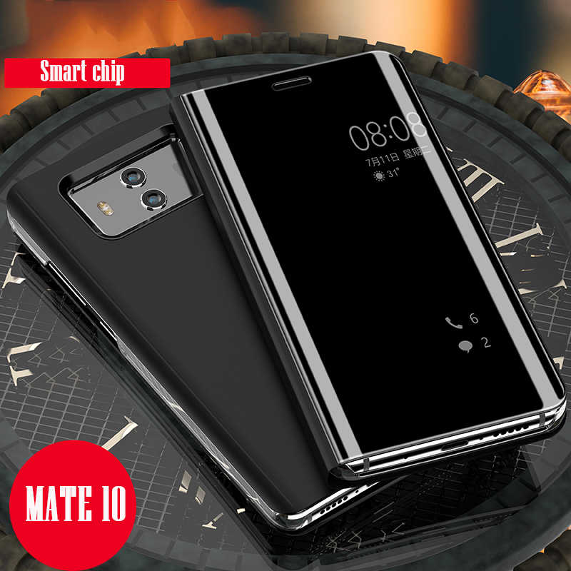 competitive price e0904 a38a2 For HUAWEI P20 Pro Case Flip Case Clear Mirror Smart Chip View for HUAWEI  Mate 10 Pro P Smart P10 P9 Plus Mate 10 9 Pro 8 Case