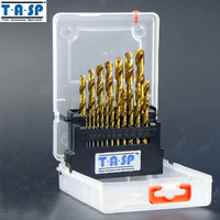 TASP 19PC Titanium HSS High Speed Steel Twist Drill Bit Set Metal 1 0 10mm Round