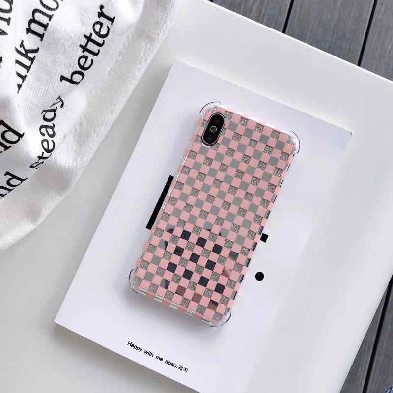 Caixa de telefone de vidro de malha de luxo para o iphone x xs xr xsmax 8 7 plus 6 s plus capa traseira para iphone 7 capa para iphone 7 caso