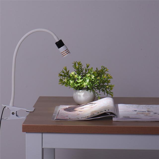 Design de Moda moderna 3 W COB 300Lm LED Mangueira Flexível Clipe Luz luzes Braçadeira Lâmpada de Mesa para Leitura de mesa Livro Lâmpada de Leitura Noite