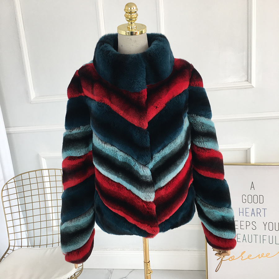 Short Multicolor Rex Rabbit Fur Coat Standing Color For Winter Warm Thick Fur Coat Jacket 100% Genuine Rex Rabbit Fur