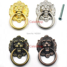 10 Pcs / Lot 40mmx67mm Vintage Lion Head Door Furniture Cabinet Dresser Drawer Pull Handle Knob Ring