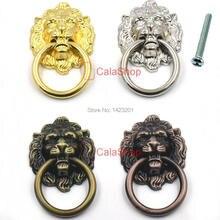 10 adet/grup 40mm x 67mm Vintage Aslan Kafası Kapı mobilya dolap Dresser Çekmece çekme kolu Topuzu Yüzük