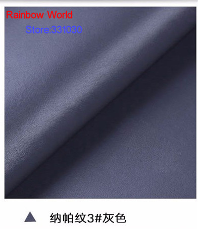 3# grey High Quality Nappa Stripes vein grain PU Leather fabric for DIY sofa bed shoes bags Garment material(138*100cm)
