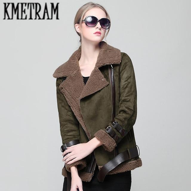 KMETRAM 2017 Faux Shearling Sheepskin Coats Women Thick Bomber ...