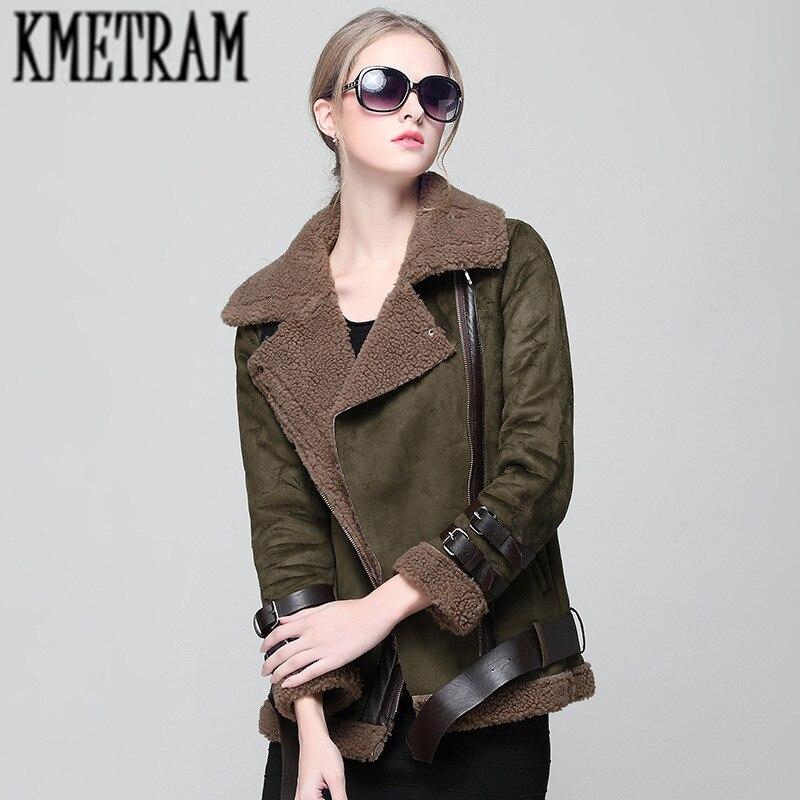 e4730cab120 KMETRAM 2018 Faux Shearling Sheepskin Coats Women Thick Bomber Jacket Women  Autumn Winter Lambs Wool Short Casaco Feminino HH176