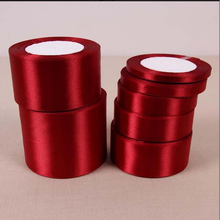 25 ярдов 22 м цвет красного вина шелковый атлас ленты для рукоделия Свадебная вечеринка украшения Новогодняя одежда Вышивание ткань подарок DIY